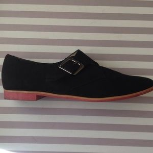 Black Faux Suede Loafers with Pink Sole